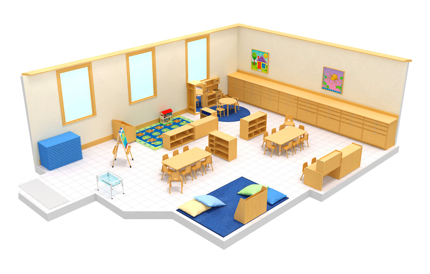 Version two 3D image of preschool in Fort Myers classroom at Connection Point Early Learning Center