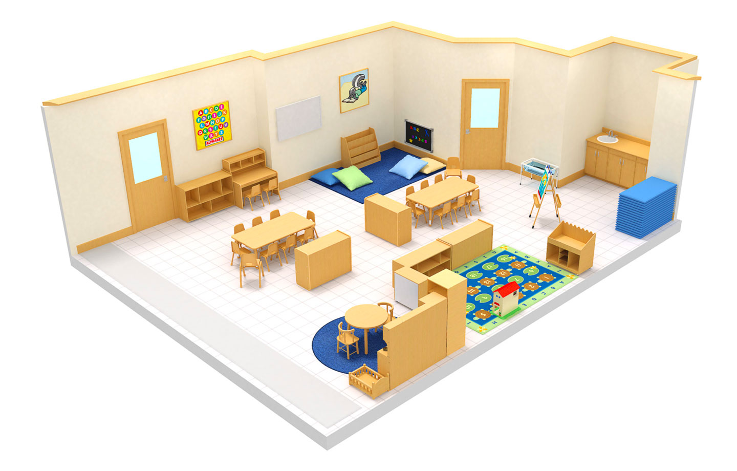 Version three 3D image of preschool in Fort Myers classroom at Connection Point Early Learning Center